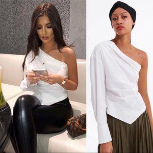 Zara Asymmetrical Pleated Top One Shoulder